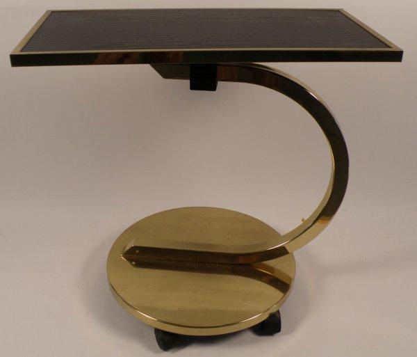 5: Brass & Teakwood revolving cantilevered table
