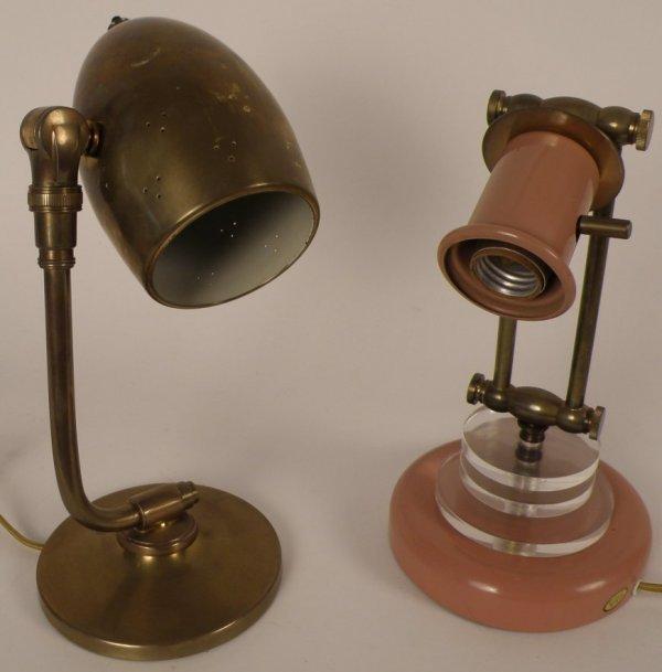 "4: Pr of Modern Lamps, one brass 12""H,"