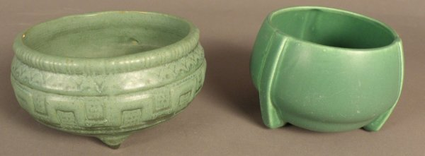 12: Two Green Pottery Bowls, unmarked,
