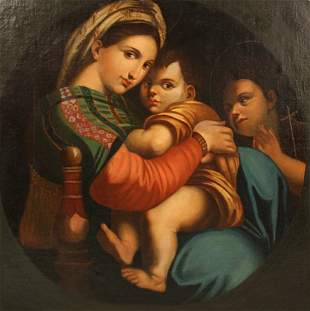 """Oil On Canvas """"Madonna With Child"""""""