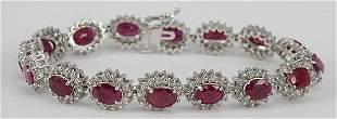 Ruby & Diamond 14K White Gold Bracelet