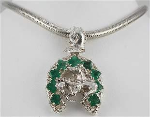 Horse Shoe Emerald Pendant