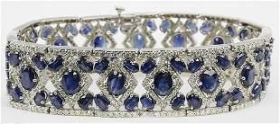 Fancy Blue Sapphire & Diamond Bracelet