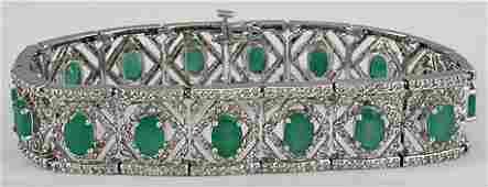 7030: Fancy Emerald & Diamond Bracelet