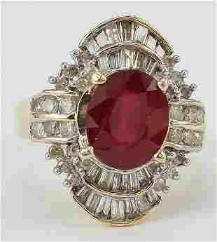 Ladies Fancy Ruby & Diamond Ring