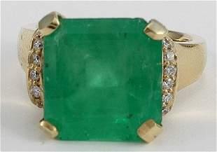Princess Cut Emerald & Diamond Ring