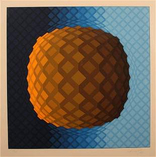 "Viktor Vasarely Serigraph ""Sphere"""