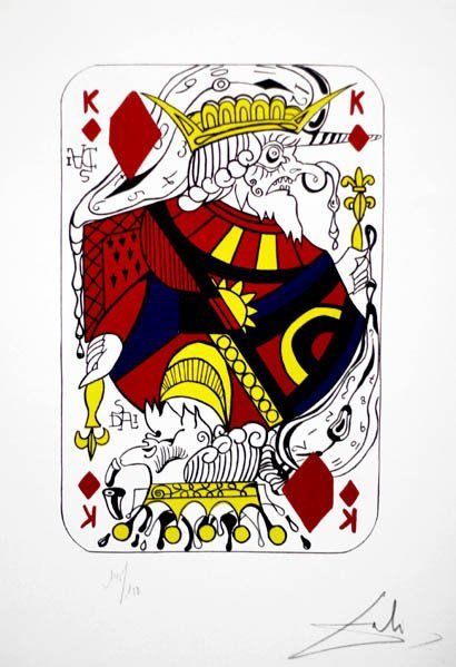 "7288: Salvador Dali ""Playing Cards-King"" Litho"