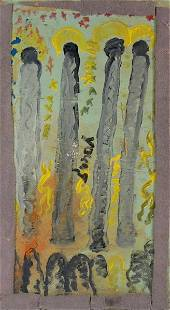"""7357: Purvis Young """"Four Holy Men"""" Painting"""
