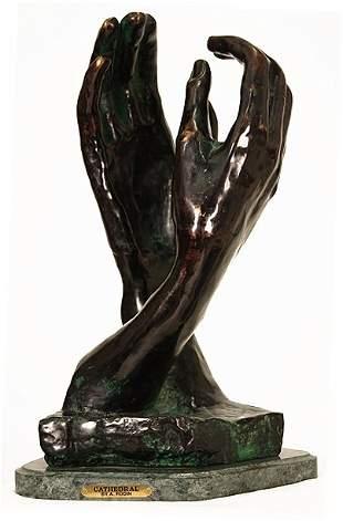 "A. Rodin ""La Cathedral"" Bronze Sculpture"