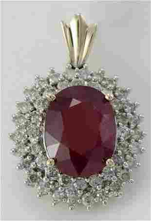Ladies Ruby and Diamond Pendant