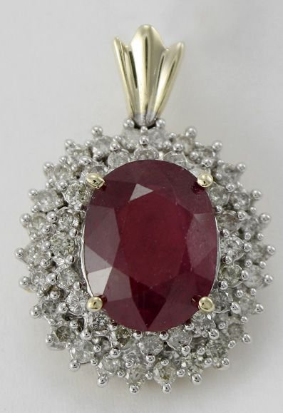 7017A: Ladies Ruby and Diamond Pendant
