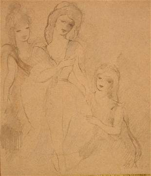 """Marie Laurencin (1883-1956) """"Three Young Girls"""""""