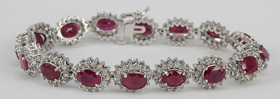 1001: Ruby & Diamond 14K White Gold Bracelet