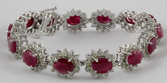1002: Ruby & Diamond 14K White Gold Bracelet