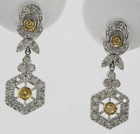 1005: Yellow & White Diamond Drop Earrings