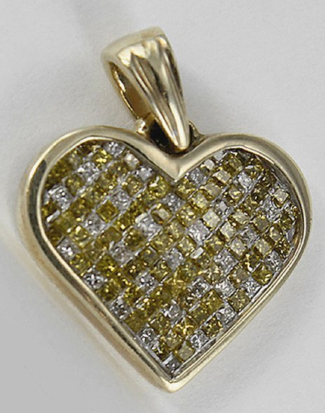 1008: Yellow Heart Shaped Diamond Pendant