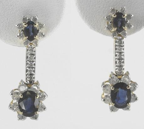 1009: Blue Sapphire & Diamond Earrings