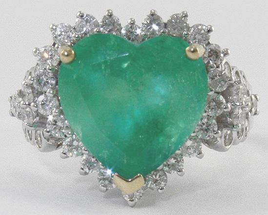 1018: Emerald & Diamond Heart Shaped Ring