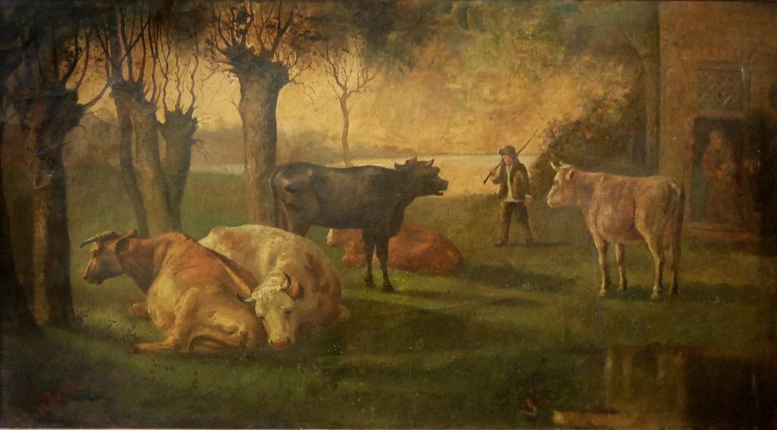 signed H Boner (Dutch School 19th-20th c); Grazing Cows