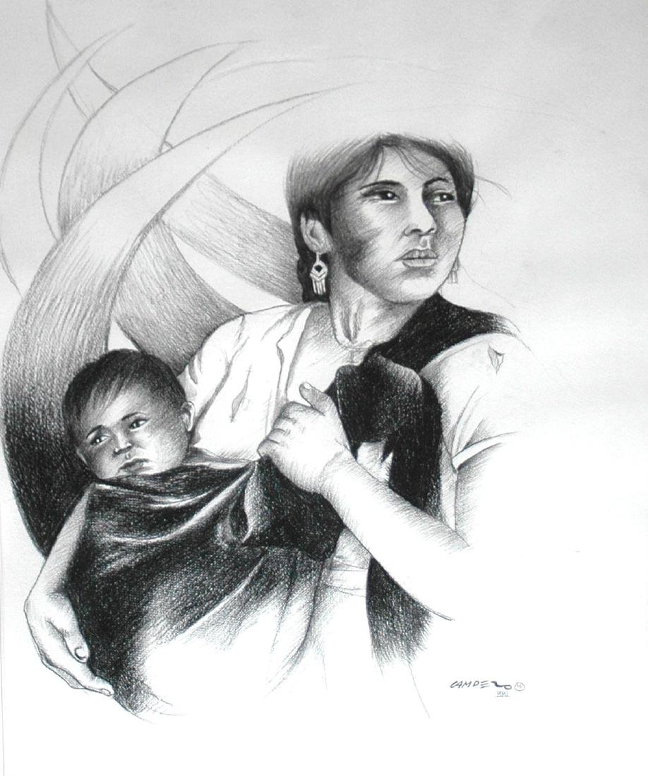 Campero Armando (Mexican 20th c); Madre Con Bebe