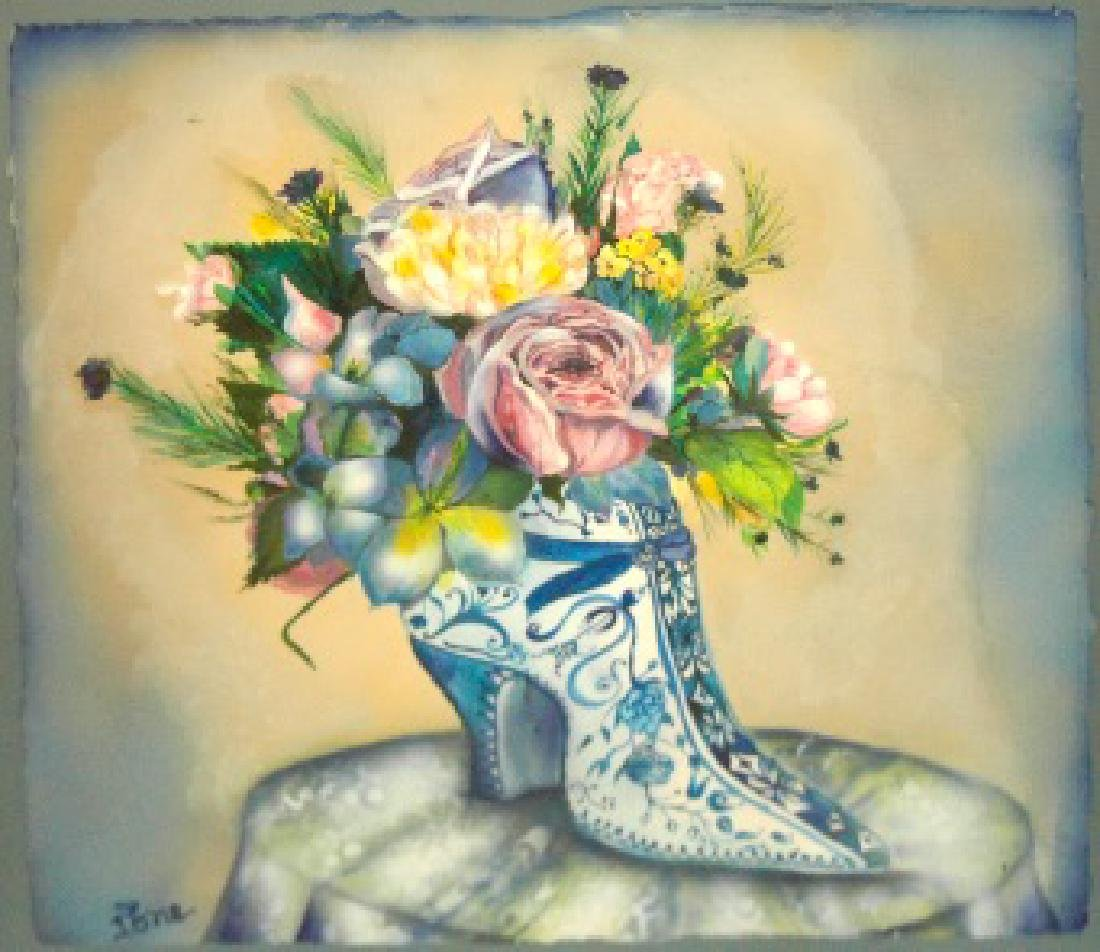 Citrin Ione (American 1938-); Flowers in the Shoe