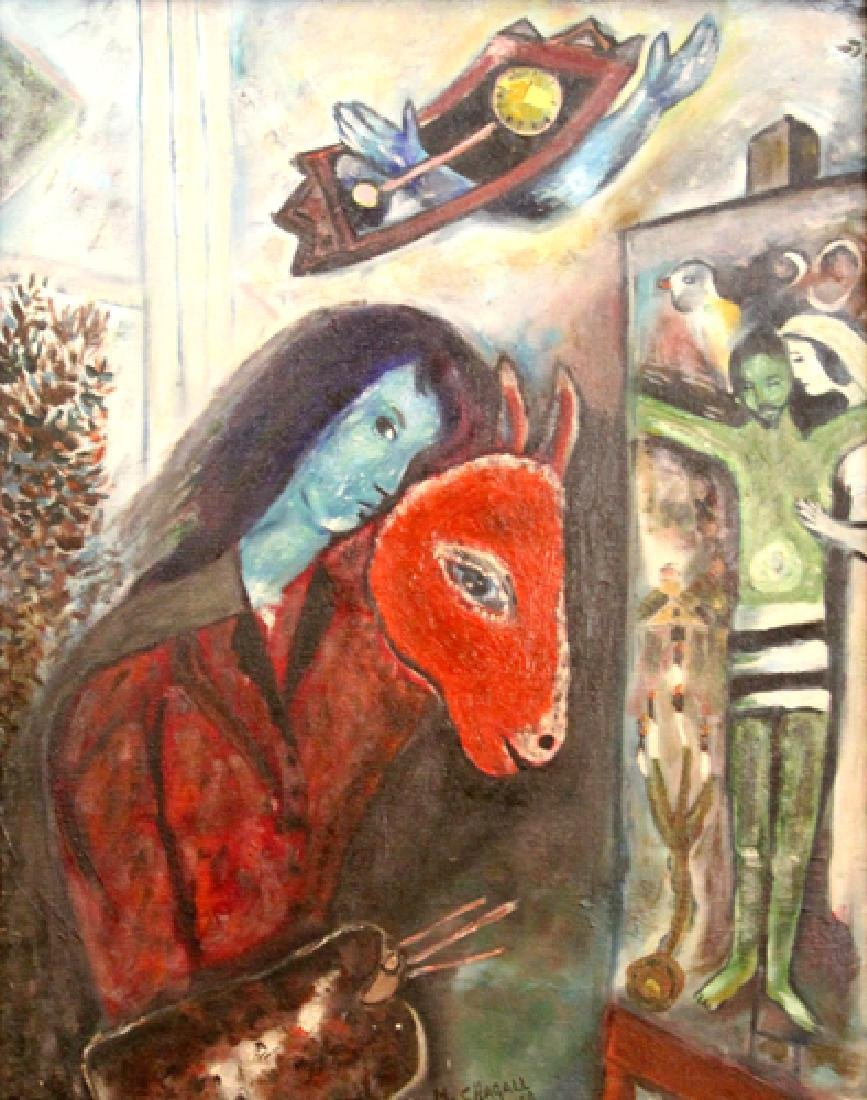 After Chagall, Self-Portrait with a Clock