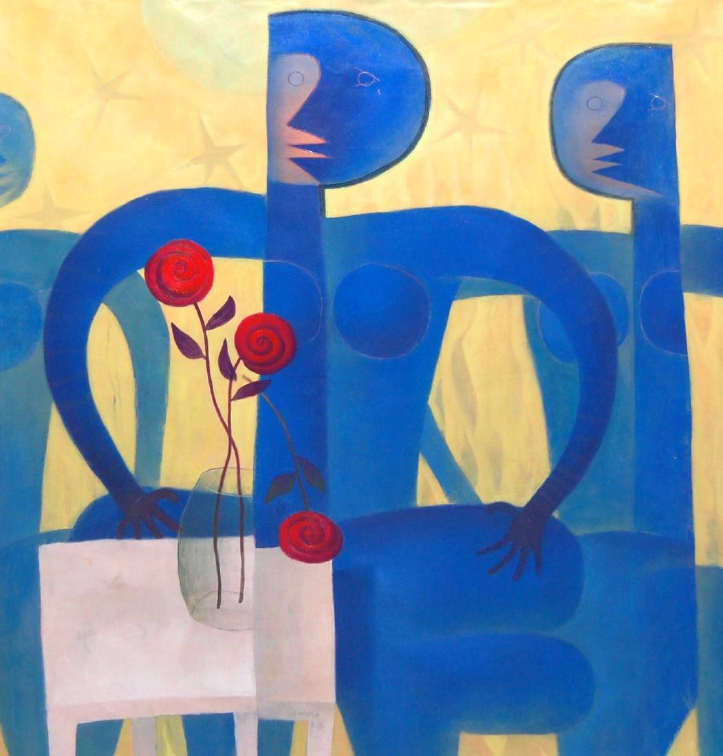 Jorge Vallejos (Peru 1965); Dama Azul; acrylic on