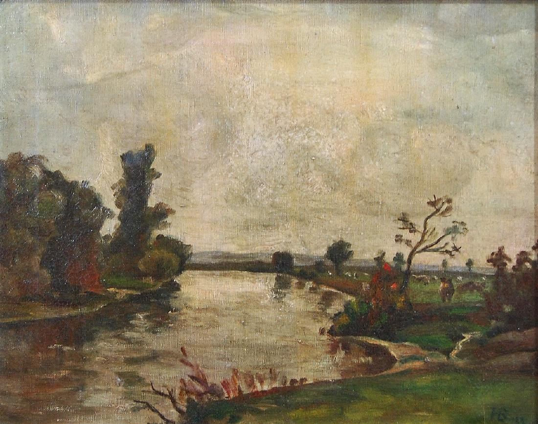 H B; American School- Landscape; oil on canvas