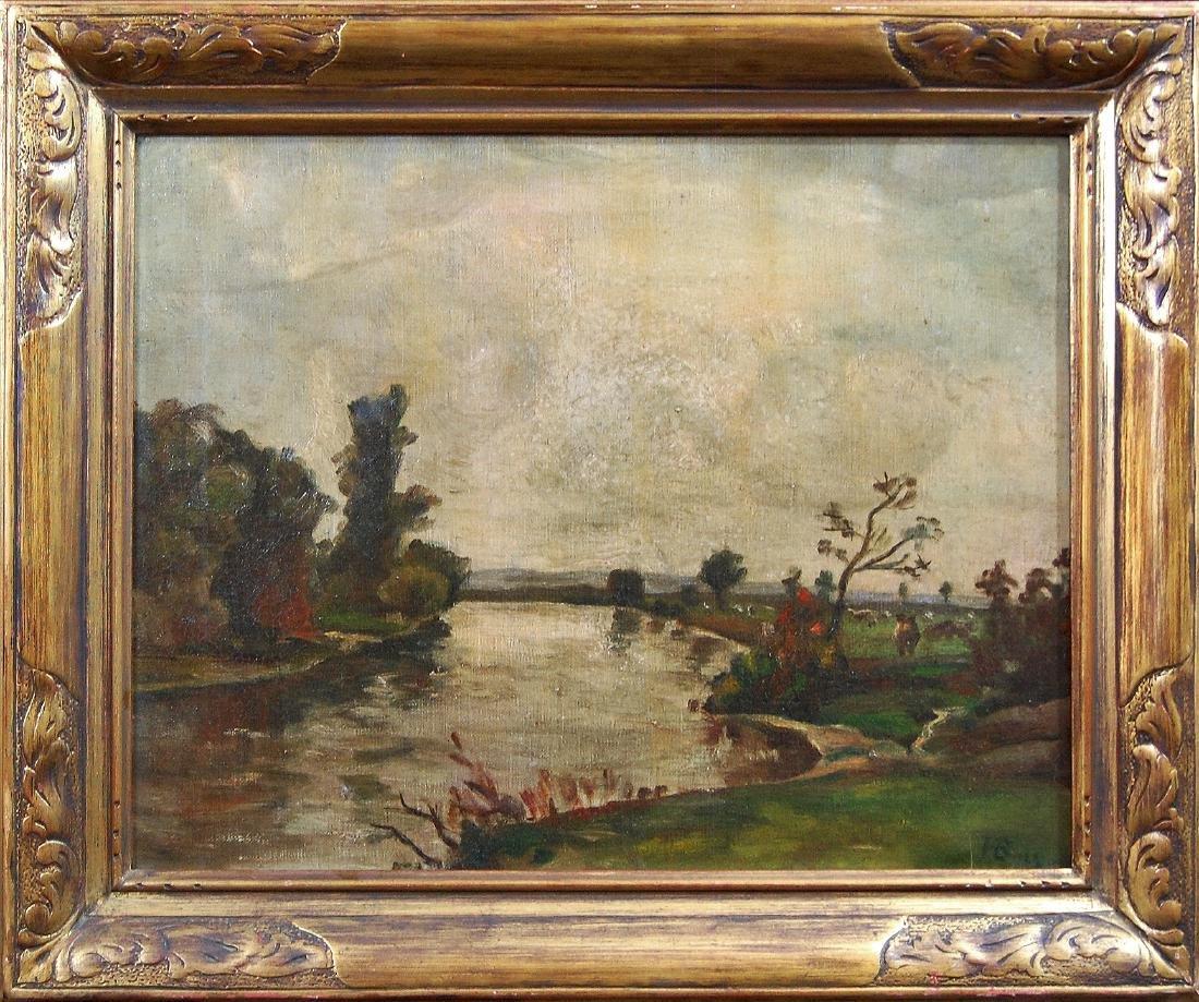 H B; American School- Landscape; oil on canvas - 2