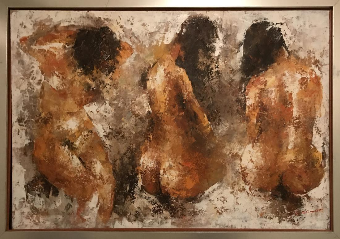 Donald Blagge Barton (1903 - 1990); The Three Nude; Oil - 2