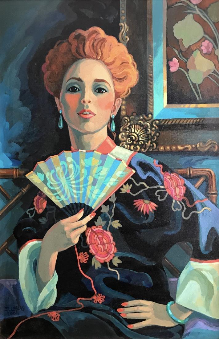 Dick Ellescas; Portrait of a woman; oil on canvas