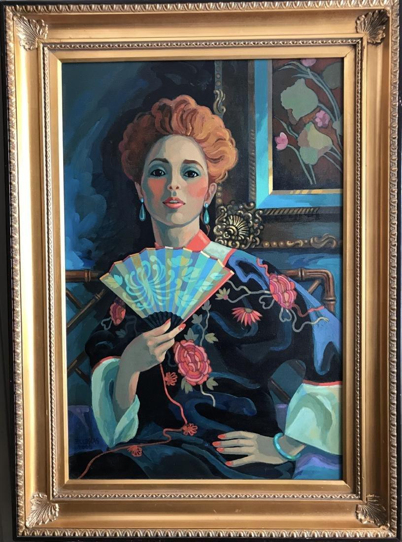 Dick Ellescas; Portrait of a woman; oil on canvas - 2