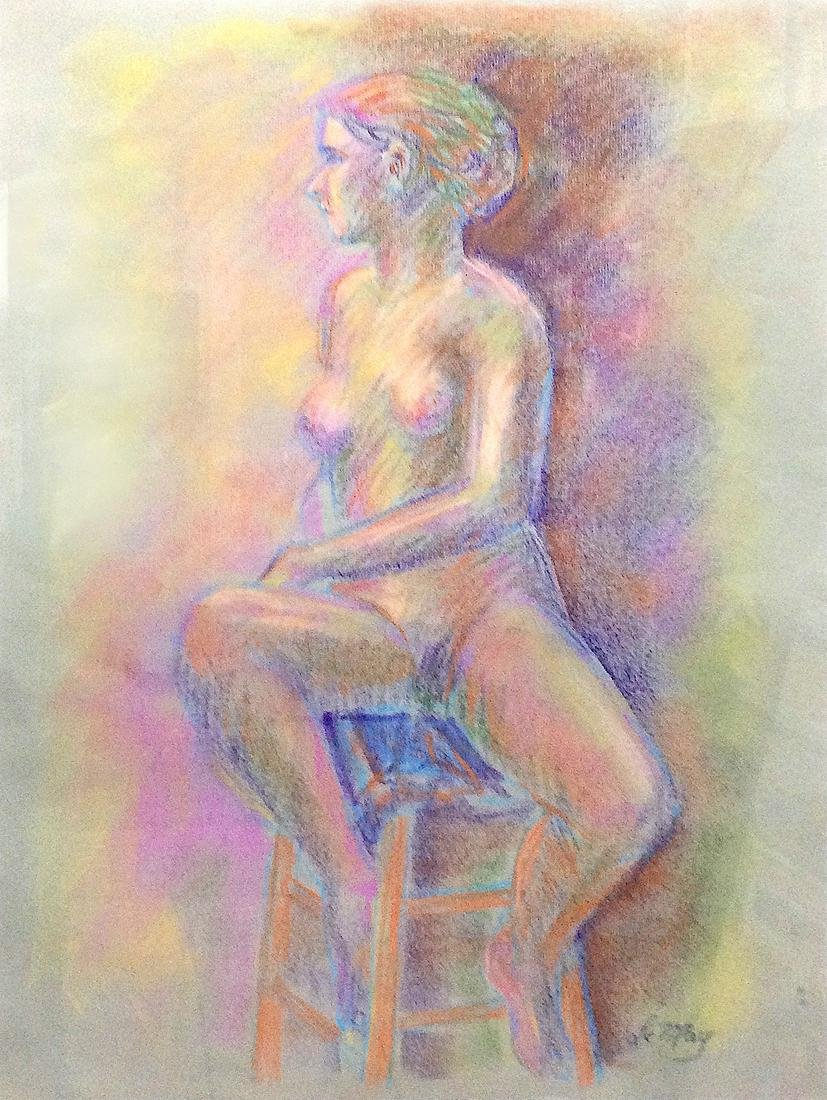 Harry LeMay (American 20th c); Nude Woman on Stool