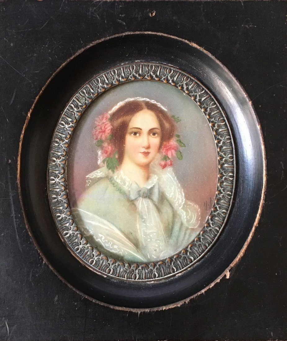 unsigned; Framed miniature portrait of a Young Lady
