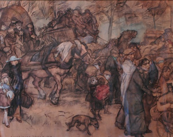 415: Fluchtende Belgen;  pastel on paper by Gestel Leo