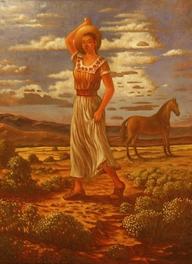 "1390:  ""Mujer del Cantaro"";  Oil on canvas by Orduna Ca"
