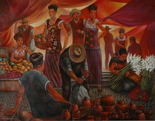 "1391:  ""Mercado""; Oil on canvas by Orduna Carlos; Size:"