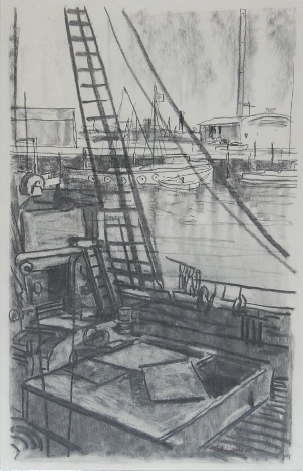 1527:  Harbour; Oil on canvas by Frank Caldwell; Size: