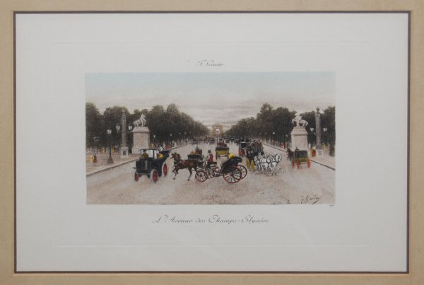 "2018:  ""L Avenue des Champs""; Hand colored engraving by"