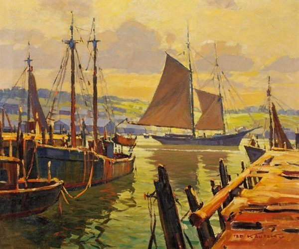 2620:  Harbor View; Oil on canvas by Ted Kautzky; Size: