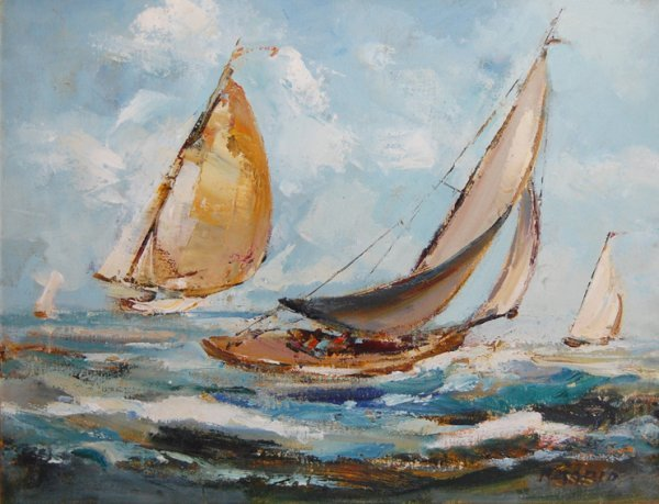 """3003: Sailboats; Oil on canvas by Amario; Size: 20""""x16"""""""