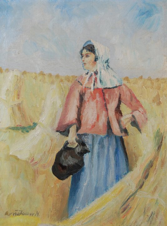 """3004: """"Woman in the Hay""""; Oil on canvas by Ancher Anna;"""
