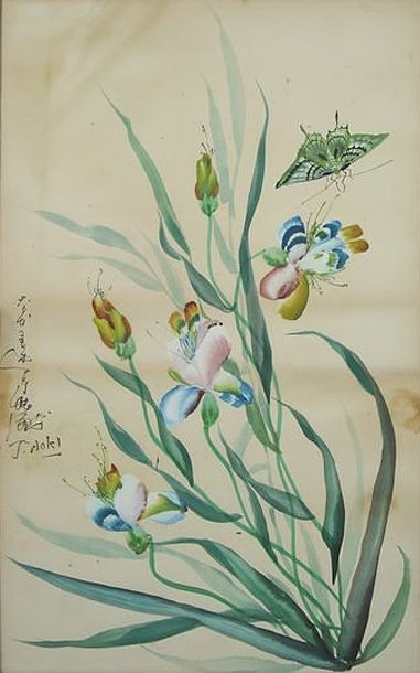 "3005: Flowers; Watercolor by Aoki J.; Size: 21.75""x13.7"