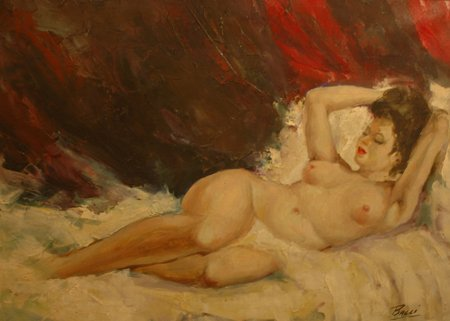 3007: Reclining Nude; Oil on canvas by Bacci-Baccio Mar