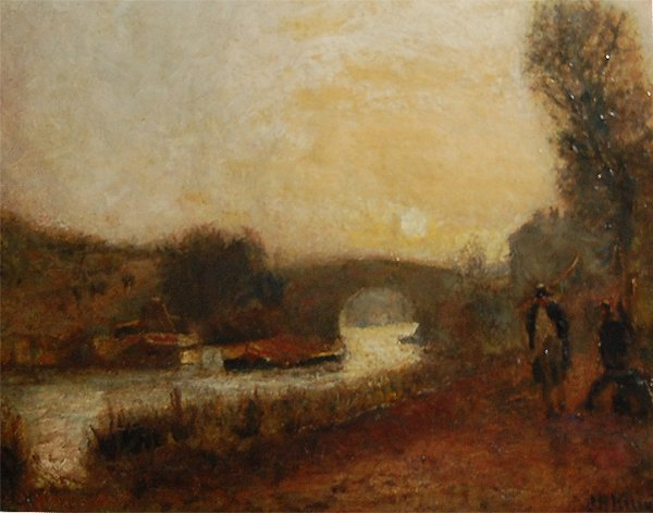 3010: River Scene With Figures; Oil on canvas by John B