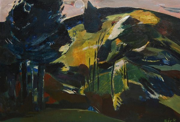 """3016: """"Landscape With Trees""""; Oil on masonite by Rudolf"""