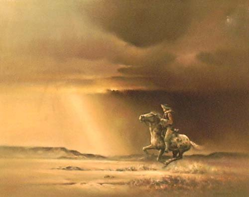 """3019: """"Distant Ride""""; Oil on canvas by Bodner Joseph; S"""