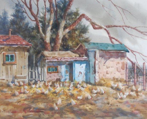 3022: Chicken Feed; Watercolor by Boehler Joe; Size: 16