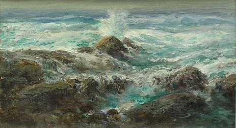3115: Californian Seascape; Oil on canvas by Charles He